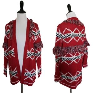 Sweaters - 4 for $25 checkered red fringed sweater